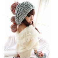 Free shipping 2013 Color block oge ball knitted  hat women's autumn and winter warm big ball cap
