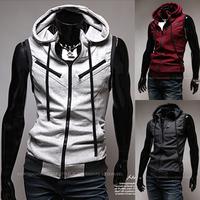 Free shipping men's spring Wine red  grey zipper preppy style sport vest slim vest sleeveless hoodie sportswear for men  WY061