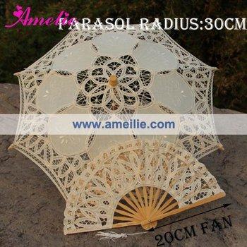 , Детский's Бежевый Vintage Кружево Parasol And Fan