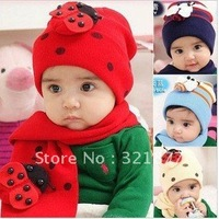 Free shipping  Children's winter beetle / Ladybug bee wool scarf hat two piece set