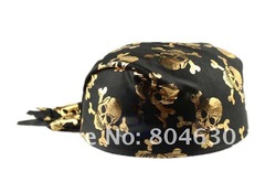 12pcs/lot gold silver skull black circular pirate hat masquerade Halloween party supplies(China (Mainland))
