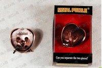 Free shipping of Zinc alloy peach heart lock  Brain Teaser Metal Puzzles