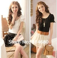 Free shipping !New wave point lace chiffon waist skirt (with belt)  wholsale price Two color Free size