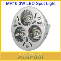 MR16 3W AC/DC 12V High Power Pure White LED Spot Light Downlight with 3 Lamp Bulbs for Home Use, Free Shipping