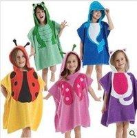 2012 Latest Design Fashion Baby Boys/girls Cartoon Toweling Bathrobes Kids Towel Cotton Bathrobes Children Bathrobe Retail 1PCS