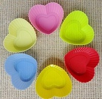 20pcs/lot 7CM Mini heart Cake Mold, Cupcake Mold, Decorating/liner Mould, Silicone Muffin Cup
