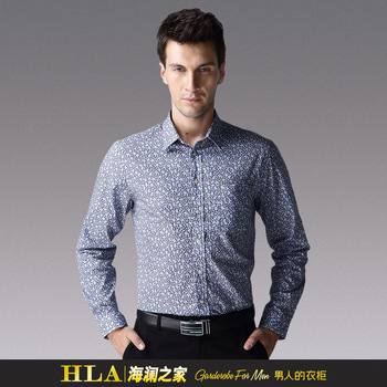 2012 autumn HEILANHOME male print casual slim long-sleeve shirt hmhd3k204 Free shipping