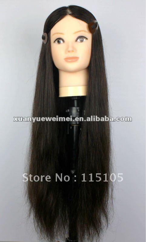 Long Hair Manikin With Long Human Hair-in