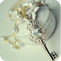 Free Shipping 2012 Newest  Fashion Necklace Crystal  Crownkey Multilayer Pearl Necklace  Sweater Chain
