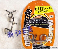 Free shipping of Interlink Brain Teaser Puzzle IQ Test Toy/metal puzzle , difficult range with  delicate package