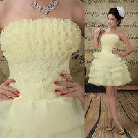 Hair - light yellow simple elegant and knee length manual flower crystal yarn production \ bridesmaid dress 0026