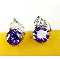 A88596 Fashion purple zircon 18kt white gold filled Stud earrings free gift Zircon earrings