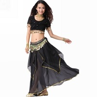 Belly dance set piece set net fabric beaded top skirt multicolour beads belly chain
