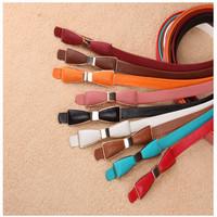 Thin belt women's shape bag buckle bow leather strap female decoration belt