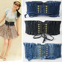 2012 hot-selling vintage denim rivet gas hole belt women's elastic bandage style wide cummerbund
