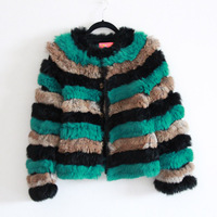 2012 winter manoush handmade knitted rabbit fur medium-long fur coat