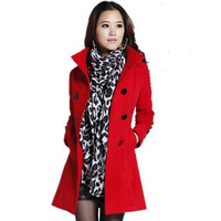 2012 autumn and winter women stand collar double breasted plus size elegant slim woolen outerwear female wool coat