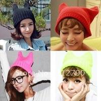 2012 New Arrival Rabbit Cap Winter Warm Hat Women's Devil Horn Knitted Hat Cat Ears Knitted Caps 20pcs/lot
