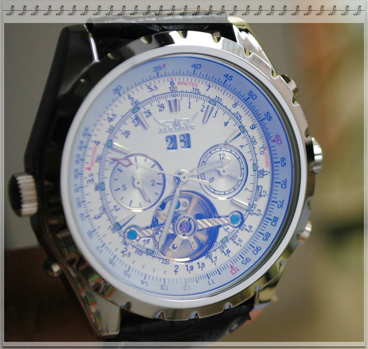 Freeship! Luxury Automatic Airman Aviator Pilot Military Watch Men Tourbillion Bezel Rotate Calendar Black Leather band(China (Mainland))