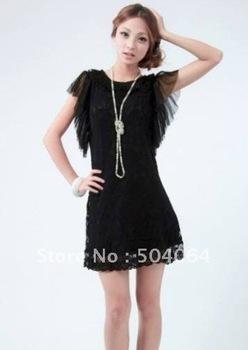 Sweety Gir's Fashion Cute Elegant Lotus Leaf Splicing Sleeve Slim Dress Black