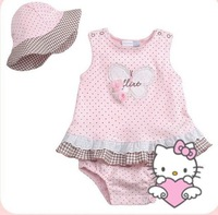 4pcs/lot, Wholesale Kitty Cat Girls Romper Dress + Hat 2pcs Set, Freeshipping
