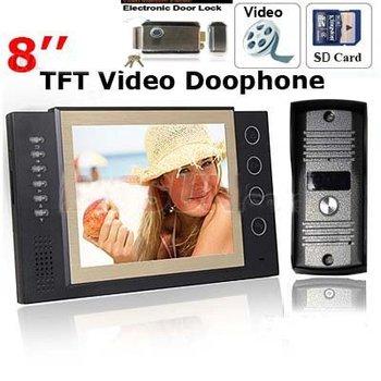 Luxury Intercom And Electronic Door Lock 8 Inch TFT Monitor Color Video Record Door Phone Door Bell Rings System