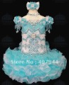 Free shipping blue organza flowers mini silver beading and feathers cupcake flower girl dress/pageant girl dres