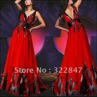 [IN STOCK] Printed Chiffon Fabirc 100% Handmake Pleat  And Rhinestones V-neck Floral Printed Evening Prom Dress  09351PP