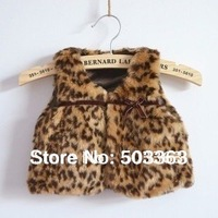 retail! baby winter outerwear  Leopard fur vest free shipping