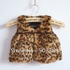 retail! baby winter outerwear Z*RA Leopard fur vest free shipping