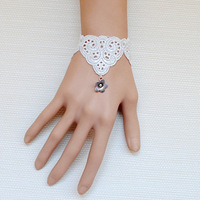 Diy vintage royal wristiest bracelet fashion female lace white wristband flower