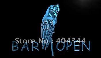 LN046- Bar Open Parrot Neon Light Sign   hang sign home decor shop crafts led sign