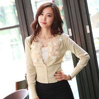 Free Shipping Autumn and winter autumn fashion slim three-dimensional flower around long-sleeve women's cardigan