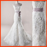 Actual picture Strapless Applique Embroidery Bowknot Lace Wedding Dresses bridal gown AWD012