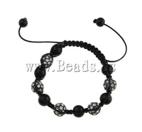FREE SHIPPING Zinc Alloy Shamballa Bracelet, wax cord with black crystal beads & rhinestone zinc alloy beads,  10mm, 7 Inch
