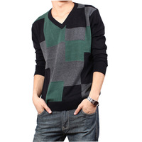 New fashion autumn and winter thin sweater for men casual long sleeve plaid V-neck knitted weat pullover free shipping MS1727