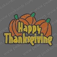 Free Shipping Happy Thanksgiving Hotfix Rhinestone Transfer Iron on Motif Design MOQ 30pcs/Design Free Custom Design