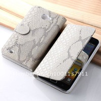 Hot sale! High Quality Off-White PU Leather Snakeskin Cover Case For Samsung Galaxy Note N7000 i9220 Free shipping