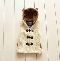 Baby women's berber fleece rabbit ears with a hood vest plus velvet vest