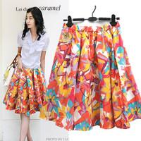 Free shipping women print short skirt plus size beach bohemia a-line skirt bust lady skirt