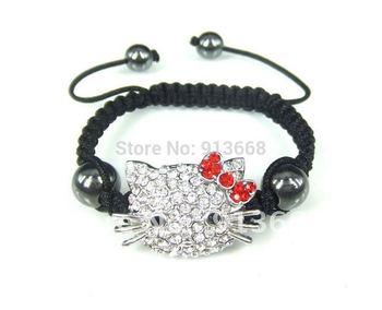 New Arrival Hello Kitty Shamballa Bracelets & Bangles Shamballa Jewelry Free Shipping