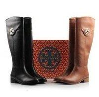 high quality  Ladies Fashion Brand Black Genuine Leather Knee Boots