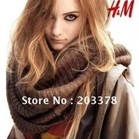 Free Shipping Circle Scarf wraps winter knitted collar wool yarn lady muffler shawl lovers scarf