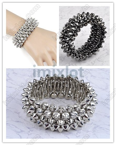 Factory Price Vintage Spike Stud Rivet Elastic Stretch Bangle Bracelet Jewelry 24pcs/lot Free Shipping(China (Mainland))