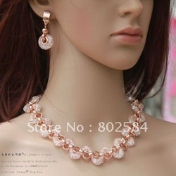 Chirstmas gift Luxury Rose Gold Real Swa Crystal bridal jewelry set,Necklace+earring LU002 Min order=15usd(China (Mainland))