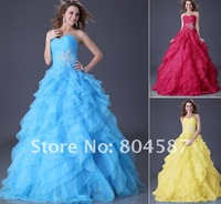 1pc Free shipping!!Grace Karin Stock red Strapless Organza Ball Party Gown Prom Evening Dress/wedding gown,CL3411