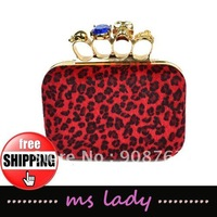 Free shipping,Hot High Quality Woman wallet skull clutch handbags,ladies' four fingers rings evening bag purse HK Airmail