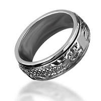 Bahamut 925 Sterling Silver Men's Jewelry Rotating Dragon Rings