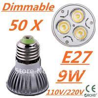 50pcs Dimmable LED High power E27 Base 3x3W 9W led Light led Lamp led Downlight led bulb spotlight FREE FEDEX and DHL