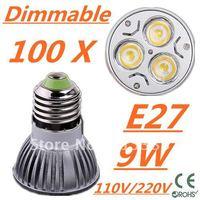 100pcs Dimmable LED High power E27 Base 3x3W 9W led Light led Lamp led Downlight led bulb spotlight FREE FEDEX and DHL